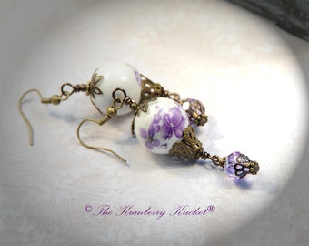 Purple Balloon Earrings, porcelain purple flower hot air balloon earrings