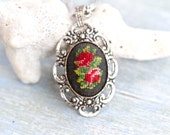 Embroidered Roses Gothic Necklace