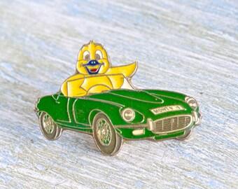 Canary Driving a Convertible Badge - Enamel Lapel Pin