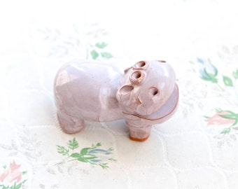 Purple Hippo - hippopotamus Ceramic Figure - Folk Art