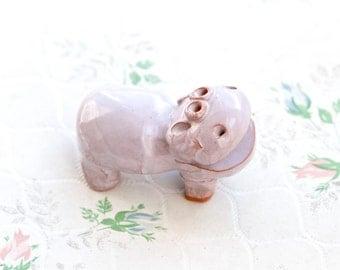Purple Hippo Ornament - hippopotamus Ceramic Figure - Folk Art