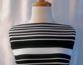 Stretch Knit Fabric, Stripe Design Print, Black & White Colors, Poly-Rayon Blend, 2 3/4 Yards by 60 Inches Wide (3675)