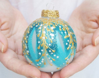 Christmas bauble, Christmas balls, Christmas ornaments, Handpainted ornaments, Teal ornaments, Turquoise ornaments - MYSTICAL