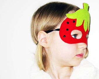 Strawberry felt mask for girl kids adult - Red Green Black - soft party favor photo props Dress up play costume accessory Theatre roleplay
