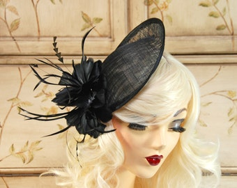 Black Fascinator with Feathers - Black Kentucky Derby Hat, Wedding Fascinator Hat, Black Fascinate, Fancy Church Hat, Fascinate Headband