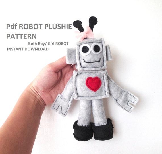 Felt Robot Pattern Sewing Patterns Toy Robot Felt