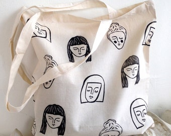 Dreaming Faces Block-Printed Cotton Tote Bag