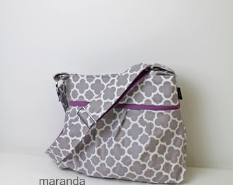 Stella Diaper Bag Medium -Quatrefoil Grey with Lavender - 6 pockets Adjustable Strap - Custom Made to Order