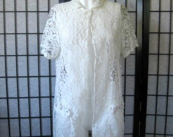 Vintage Short Robe White Lace Swimsuit Cover Up with Rhinestones Alix of Miami 34 35 S M Sexy See Through Old Hollywood Glamour 1950s 1960s
