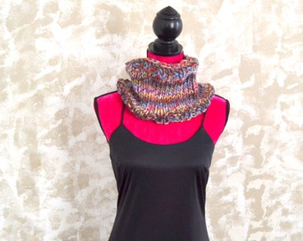Hand Knit Chunky Winter Cowl Multi Color Wool Neck Warmer