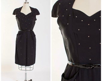 Vintage 50s Dress Black Rhinestone Studded 1950s Vintage Wiggle Dress Size Small