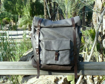 Waxed canvas backpack // high capacity backpack / Unisex rucksack/ Unisex travel bag