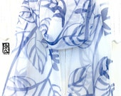 Blue and White Silk Scarf Hand painted, Off White Silk Scarf, Silk Chiffon Scarf, White and Navy Blue Zen Leaves, 10x58 inches.