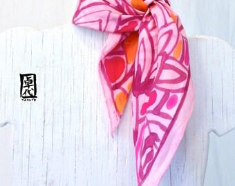 Silk Scarf Square, Handpainted SIlk Scarf, ETSY, Christmas Gift for mom, Raspberry Pink Japanese Hana Vine Scarf, Takuyo, 22x22 inches.