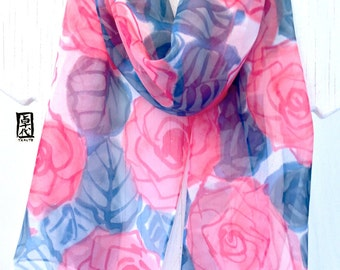 Silk Scarf Handpainted, gift for her, Pink and Navy Blue Scarf, Pretty in Pink Roses Scarf, Silk Scarves Takuyo, ETSY, 11x60 inches