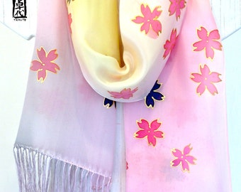Silk Fringe Scarf, Hand Painted Scarf, Scarf for Wife, Pastel Pink, Yellow Ombre Scarf, Spring Tea House Sakura Flowers, ETSY, 14x72 inches.
