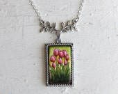 READY TO SHIP! Hand Painted Original Pink Tulips Necklace Pendant Jewelry by Michelle Meyer