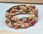 Paper bead jewelry w/ colorful gemstone beads ~ yellow red green ~ memory wire bracelet ~ one of a kind jewelry
