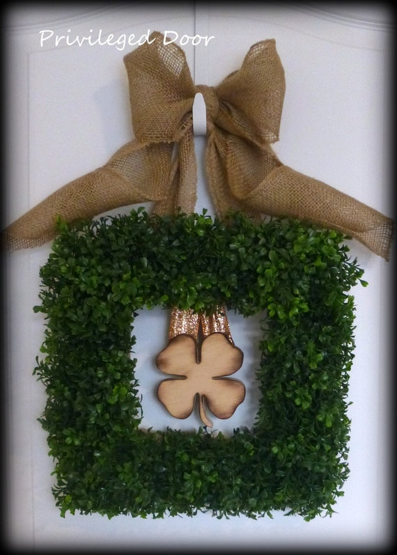 St. Patricks Day Wreath.  St. Patricks Day Decor.  St. Patty's Day Wreath.  Faux Boxwood with Woodfired Shamrock.  Southern Elegance.