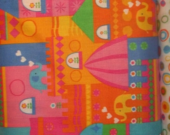 Timeless treasures Multi Colored Elephants and castles 1/2  or 1 yard cotton quilt fabric