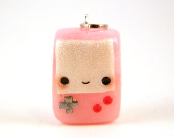 Pastel Pink Handheld Video Game Charm , Nerdy Jewelry , Video Game Charm , Gaming Charm , Video Game Jewelry , Geeky Jewelry