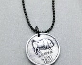 Bull Necklace - Taurus necklace - charging bull - fertility - Greek jewelry - coin necklace - 1976 - bull market - Greece 10 lepta coin
