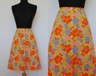 VINTAGE 1960's Bold Orange Pop Flower Button Front Mini Skirt UK 8 EU 36 Retro Psyche