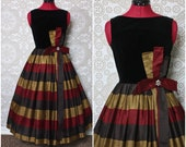Vintage 1950's Candy Jrs. Black Velvet and Multicolored Stripe Dress XS