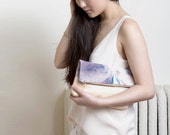 ESSENTIAL Hand Dyed Fold Clutch in Arizona. Hand Dyed Canvas Clutch. Leather and Tie Dye