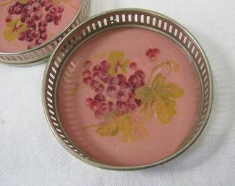 Vintage SILVERPLATE COASTERS Handpainted Grapes Set/4 Tarnished Patina