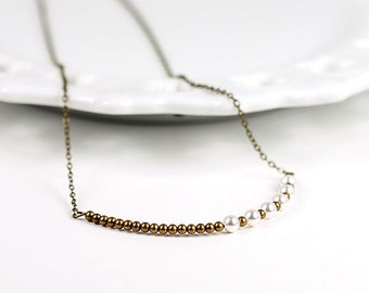 Swarovski Pearl Necklace Antique Brass Asymmetrical Bar Pendant