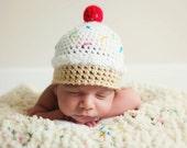 PDF Ice Cream Hat Crochet Pattern Baby Girl Newborn Photo Prop Beanie Crochet Pattern Dessert Sweet Shoppe Cupcake Hat