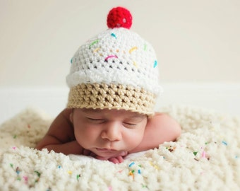 PDF Ice Cream Hat Crochet Pattern Baby Girl Newborn Photo Prop Beanie Crochet Pattern Dessert Sweet Shoppe Cupcake Hat