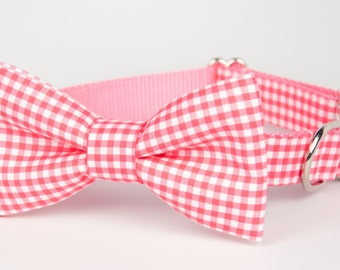 Pink Colorblock Gingham Bow Tie Dog Collar