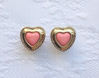 """Pink and Gold Heart Pair Plugs Gauges Size: 0g (8mm), 00g (10mm), 1/2"""" (12mm)"""