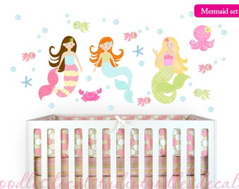 Mermaid Wall Decal, Reusable Fabric Mermaid Decals, Ready to Hang, Bathroom Decals, Beach Decor for Girls Nursery, Peel Stick Sea Life Decal