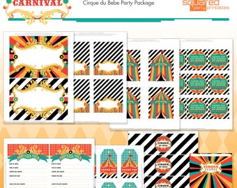 Circus Baby Shower Printables - Cirque du Bebe Printable Shower - Vintage Carnival Baby Shower - Big Top Circus Tent - Instant Download