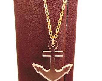 "Vintage Lucite Anchor Necklace Gold 60's 30"" (item 194)"