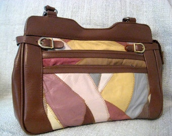Vintage 1980's Patchwork leather handbag in pinks, yellow and tan