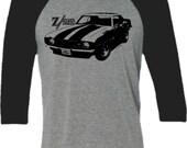 Retro Z28 Muscle Car tShirt -Retro Camaro Car tshirt- Baseball Shirt in Heather Grey and Black