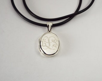 Personalized Oval Locket Custom Engraved Sterling Silver 7/8 Inch on 18 Inch Rubber Cord - Hand Engraved