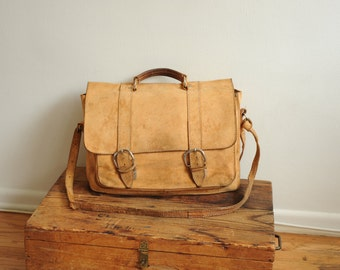 Vintage Brown Leather Messenger Bag