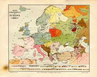 Vintage  Ethnographic Map of Europe 1920s, Ethnic Groups