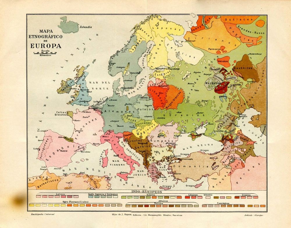 Vintage Ethnographic Map of Europe 1920s Ethnic Groups