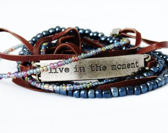 Inspirational Message Suede and Beaded Wrap Bracelet, Wedding, Hipster Birthday Gift, Customize, Personalize, Traveler gift, Graduation Gift