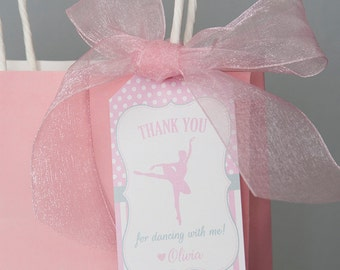 Ballerina Birthday Favor Tags - Ballerina Party Decorations - Thank You Tags - Ballet Birthday Decorations Printable - PERSONALIZED