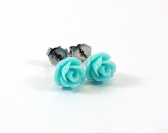 Aqua Blue Titanium Earrings  Tiny Glossy Robin's Egg Rose Cabochon Stud Earring Hypoallergenic Minimalist Jewelry Bridesmaid Wedding