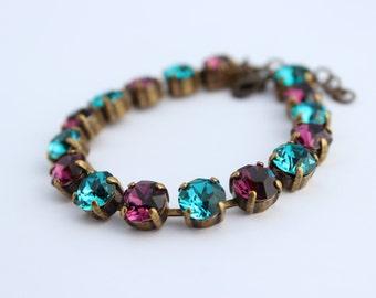 Amethyst and teal Bracelet, peacock bracelet, rhinestone bracelet, tennis bracelet, Swarovski bracelet, bridesmaid bracelet, wedding  AT03