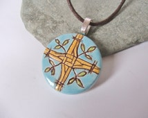 Ceramic Pottery Hand Painted Pendant Necklace, Brighid's Cross, Brigit's Cross, Brid's Cross, Bride's Cross, Brighit's Cross, Imbolc