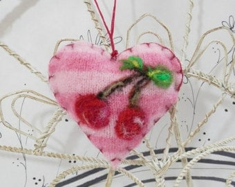 Needle felted heart ornament with cherries, brooch, pincushion, Valentine ornament, Mothers Day, stripe, cherry, heart from Curly Furr